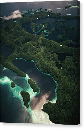 Palau, Micronesia, Aerial View Of Rock Canvas Print by Stuart Westmorland