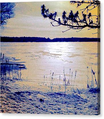 Pale Apricot Light Over Lake Ice - Square Canvas Print