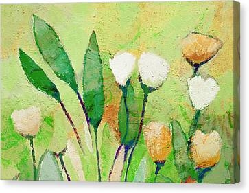 Pale Green Floral Canvas Print