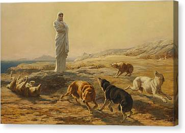 Briton Riviere Canvas Print - Pallas Athena And The Herdsmans Dogs by Briton Riviere