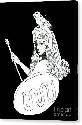 Pallas Athena Ink Drawing With Attributes Canvas Print