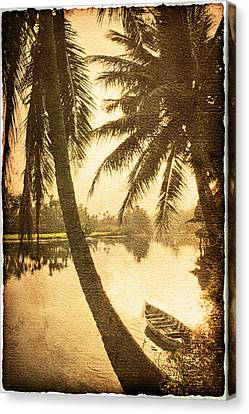 Palm And Boat Canvas Print