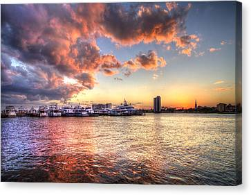 Palm Beach Harbor With West Palm Beach Skyline Canvas Print by Debra and Dave Vanderlaan