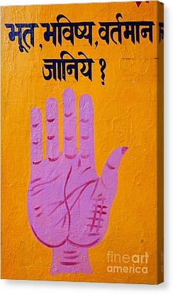 Palm Reading Sign In Rishikesh Canvas Print by Robert Preston