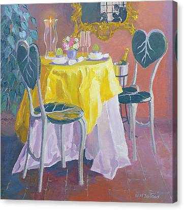 Palm Room Oil On Board Canvas Print by William Ireland