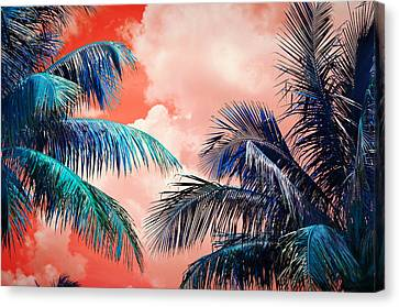 Fiery Red Canvas Print - Palmscape Red by Laura Fasulo