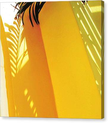 Palm Shadow On Yellow Wall - Square Canvas Print