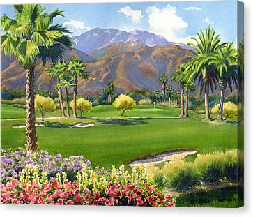 Palm Springs Canvas Print - Palm Springs Golf Course With Mt San Jacinto by Mary Helmreich