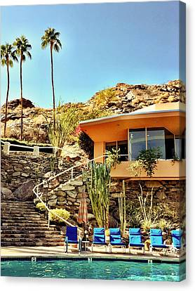 Palm Springs Pool Canvas Print by Julie Gebhardt