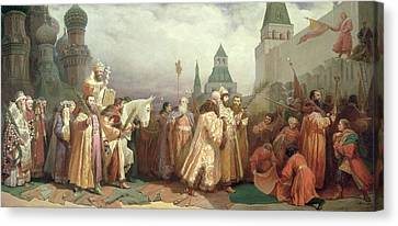Religious Canvas Print - Palm Sunday Procession Under The Reign Of Tsar Alexis Romanov by Viatcheslav Grigorievitch Schwarz