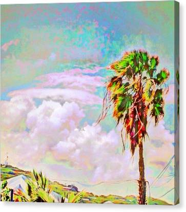 Palm Tree Against Pastel Sky - Square Canvas Print by Lyn Voytershark