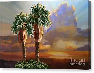 Canvas Print featuring the painting Palm Tree Cabo Sunset by Tim Gilliland