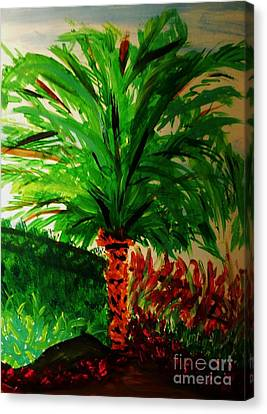 Palm Tree In The Garden Canvas Print by Marie Bulger