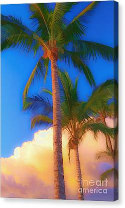 Palm Trees Hawaii Watercolor Canvas Print