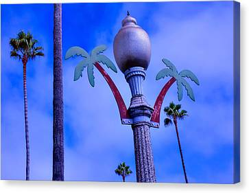 Palm Trees Lamp Post Canvas Print by Garry Gay