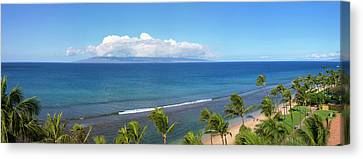 Palm Trees On The Beach, Kaanapali Canvas Print by Panoramic Images