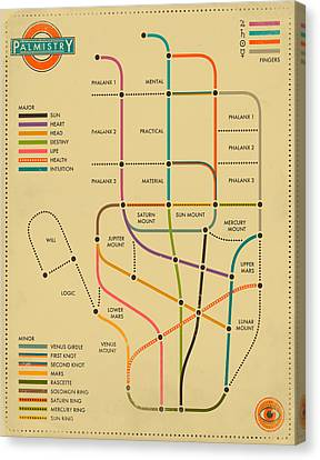 Palmistry Subway Map Canvas Print by Jazzberry Blue