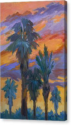 Palms And Sunset Canvas Print by Diane McClary