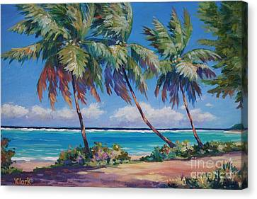 Palms At The Island's End Canvas Print by John Clark