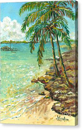 Palms On Point Of Rocks Canvas Print
