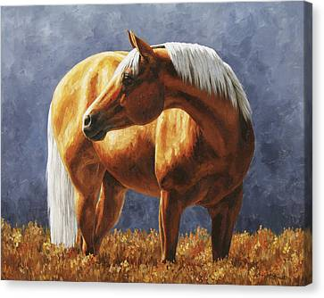 Palomino Horse - Gold Horse Meadow Canvas Print by Crista Forest