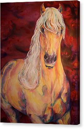 Canvas Print featuring the painting Palomino Ruby  by Christy  Freeman