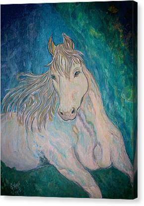 Canvas Print featuring the painting Palomino Thunder by Ella Kaye Dickey