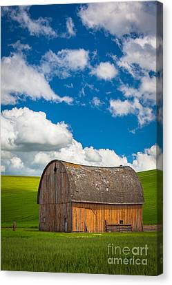 Farming Barns Canvas Print - Palouse Barn And Clouds by Inge Johnsson