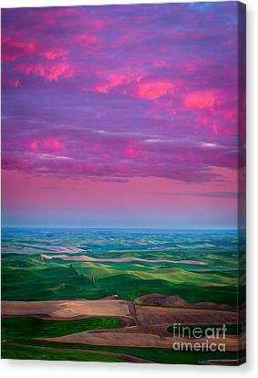 Palouse Fiery Dawn Canvas Print by Inge Johnsson