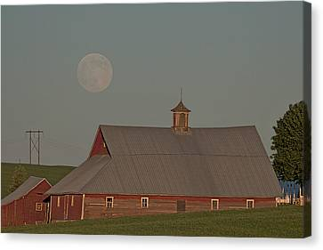 Palouse Solstice Moon Canvas Print by Latah Trail Foundation
