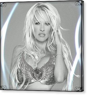 Pamela Anderson - Angel Rays Of Light Canvas Print by Absinthe Art By Michelle LeAnn Scott