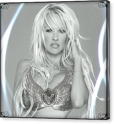 Canvas Print featuring the digital art Pamela Anderson - Angel Rays Of Light by Absinthe Art By Michelle LeAnn Scott