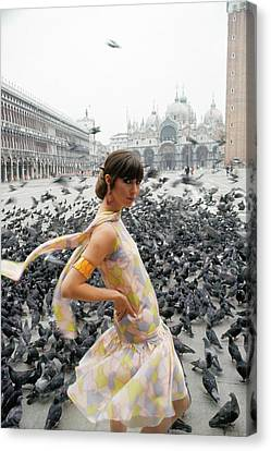 Pamela Barkentin In The Piazza San Marco Canvas Print by George Barkentin