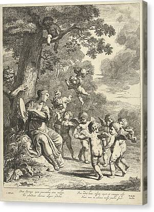 Pan And Syrinx With Dancing Putti, Print Maker Dancker Canvas Print by Dancker Danckerts And Cornelis Holsteyn And Frederik De Wit