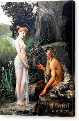 Pan Consoling Psyche Canvas Print by Pg Reproductions