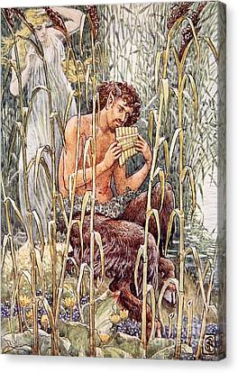 Pan Playing His Pipes Canvas Print by Walter Crane