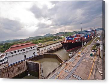 Panama Canal Miraflores Locks Canvas Print by Marek Poplawski