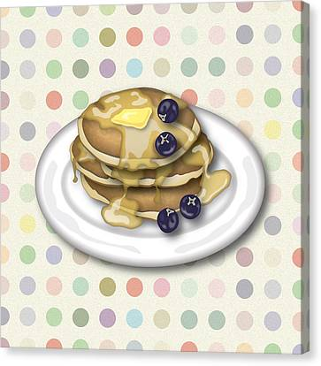 Pancakes With Syrup And Blueberries Canvas Print by Ym Chin