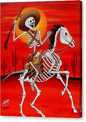 Canvas Print featuring the painting Pancho Villa by Evangelina Portillo
