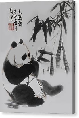 Panda And Bamboo Canvas Print by Yufeng Wang
