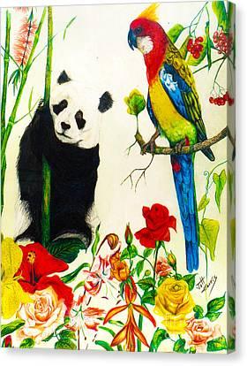 Panda And Parrot Canvas Print