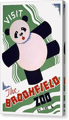 Canvas Print featuring the painting Panda At Brookside by American Classic Art
