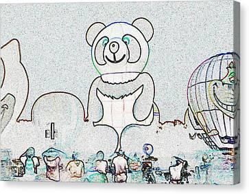 Panda Balloon Sketch Canvas Print