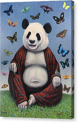 Panda Buddha Canvas Print by James W Johnson