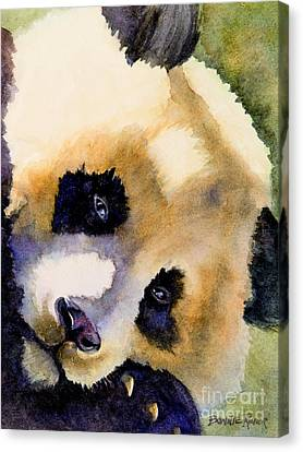 Canvas Print featuring the painting Panda Cub by Bonnie Rinier