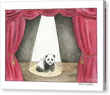 Panda Cub On Center Stage Canvas Print by Erica Vojnich