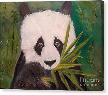 Canvas Print featuring the painting Panda by Jenny Lee