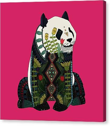 Panda Ochre Canvas Print by Sharon Turner