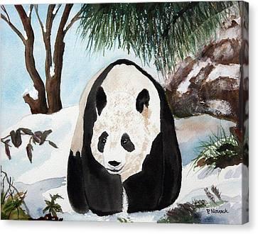 Panda On Ice Canvas Print by Patricia Novack