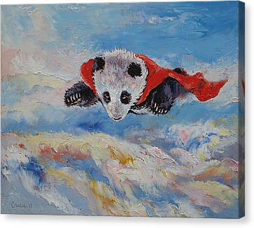 Panda Superhero Canvas Print by Michael Creese